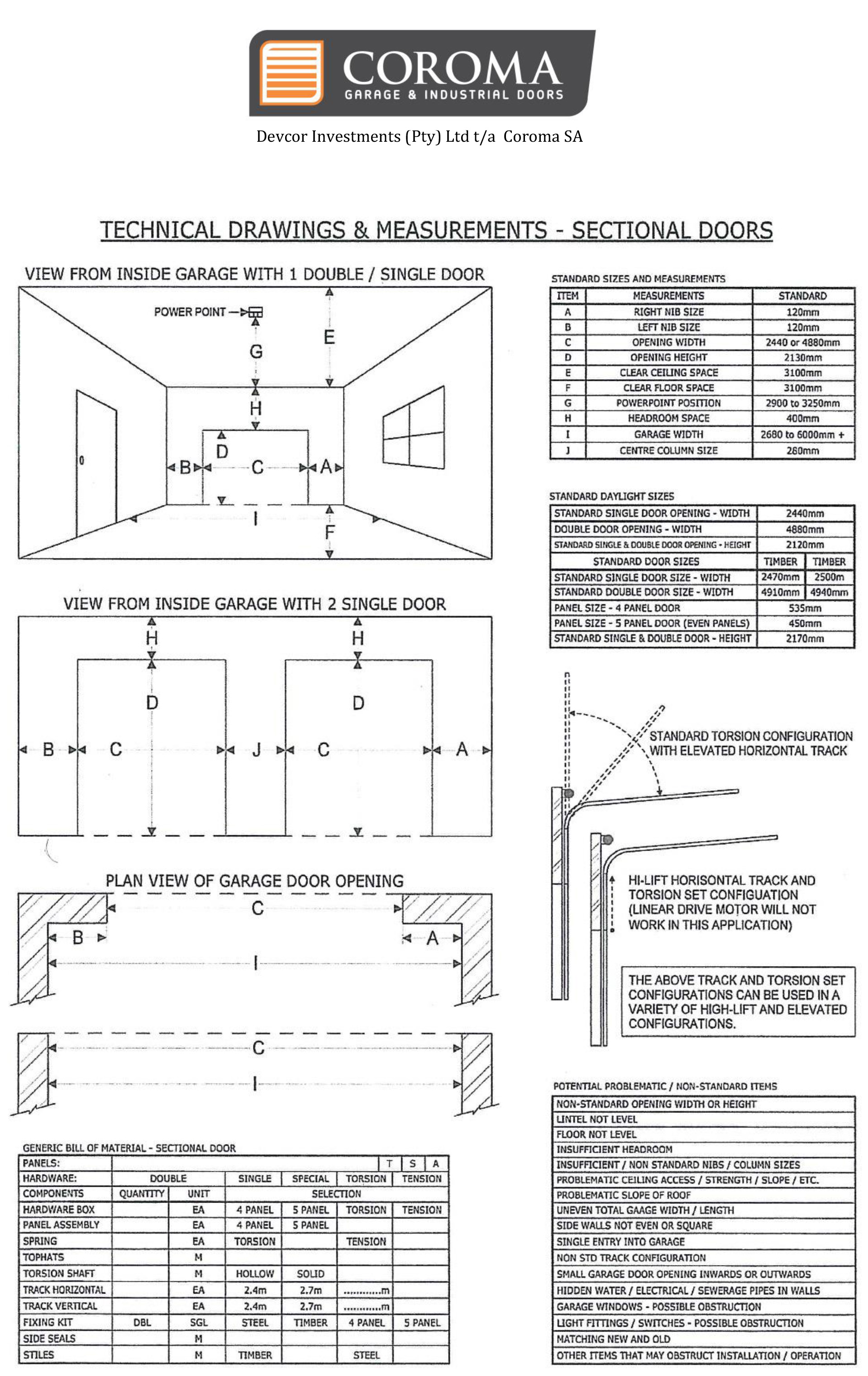 Technical Drawing & Measurements - Sectional Doors